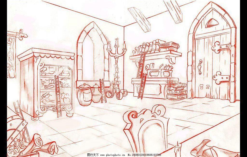 动画场景设计 二点透视 手绘 线稿 单色 房间 动画场景 场景设计 动漫