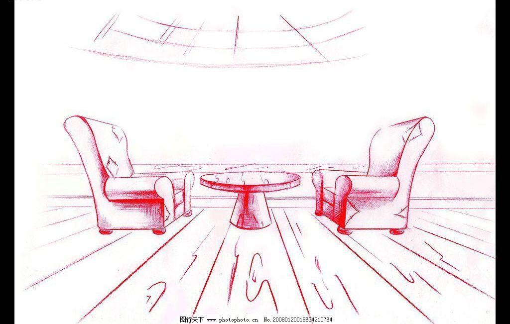 动画场景作品 一点透视 手绘线稿 单色 沙发 餐厅 咖啡厅 场景设计