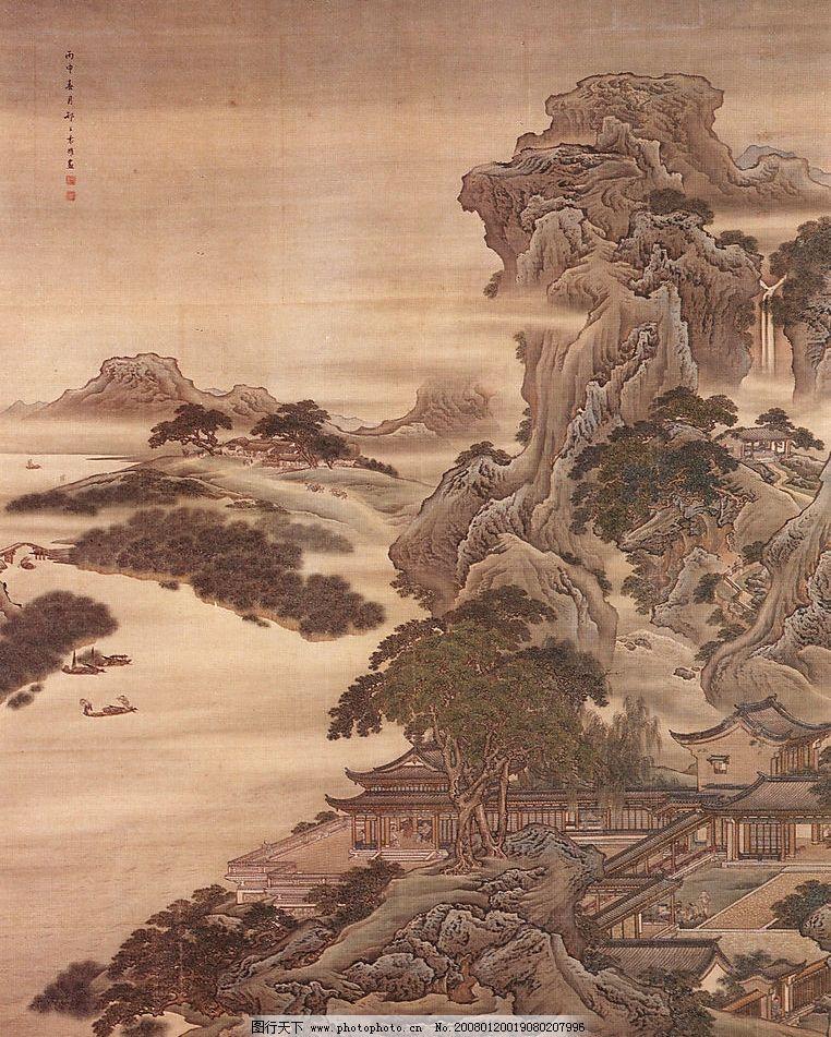 古画 古代山水风景画 山 水 树木 建筑jpg 其他 图片素材 中国传世图片