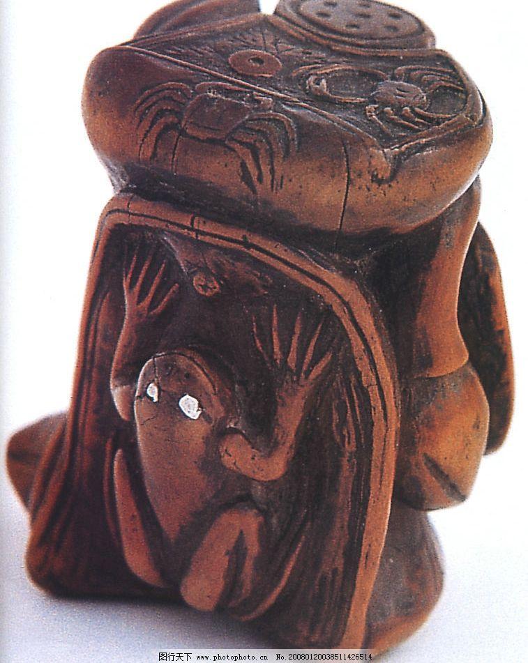 黄杨木雕荷花青蛙挂件图片