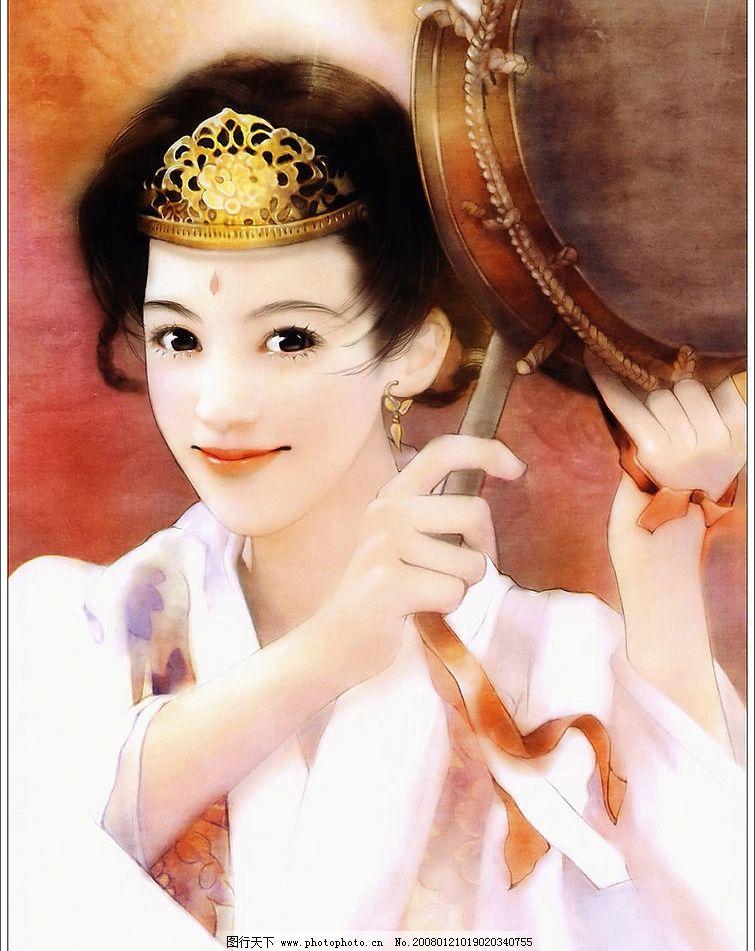 古典绘画美女 彩绘 绘画 手绘 美女 古典 古装 文化艺术 绘画书法