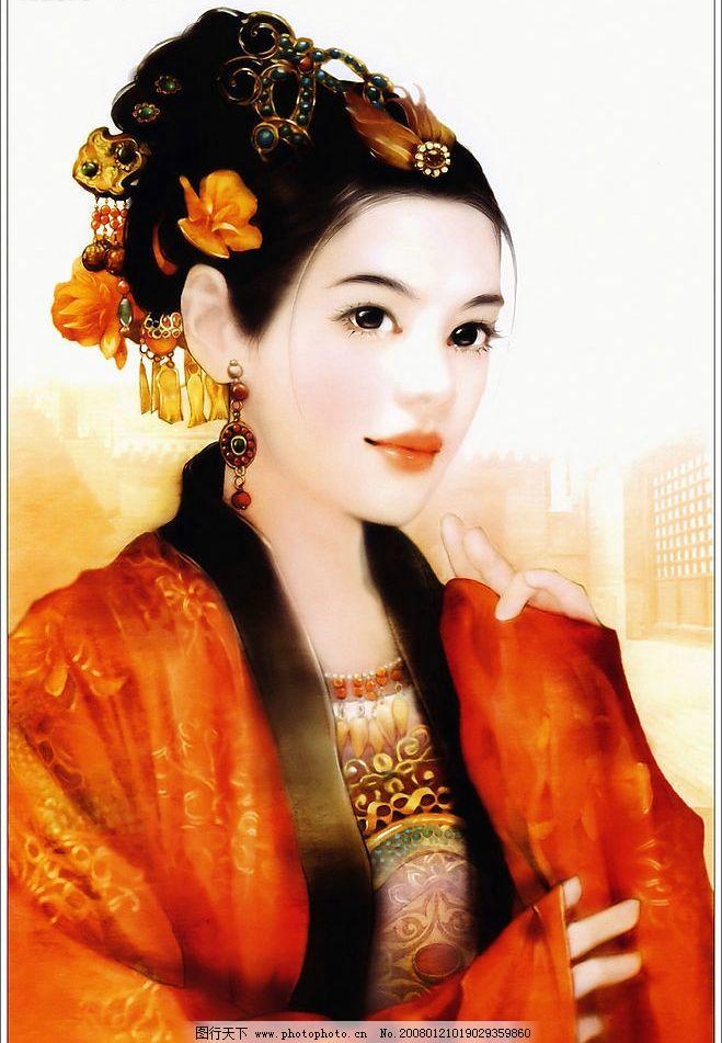 古装美女彩绘 绘画 手绘 古典 文化艺术 绘画书法 中国画 外国画