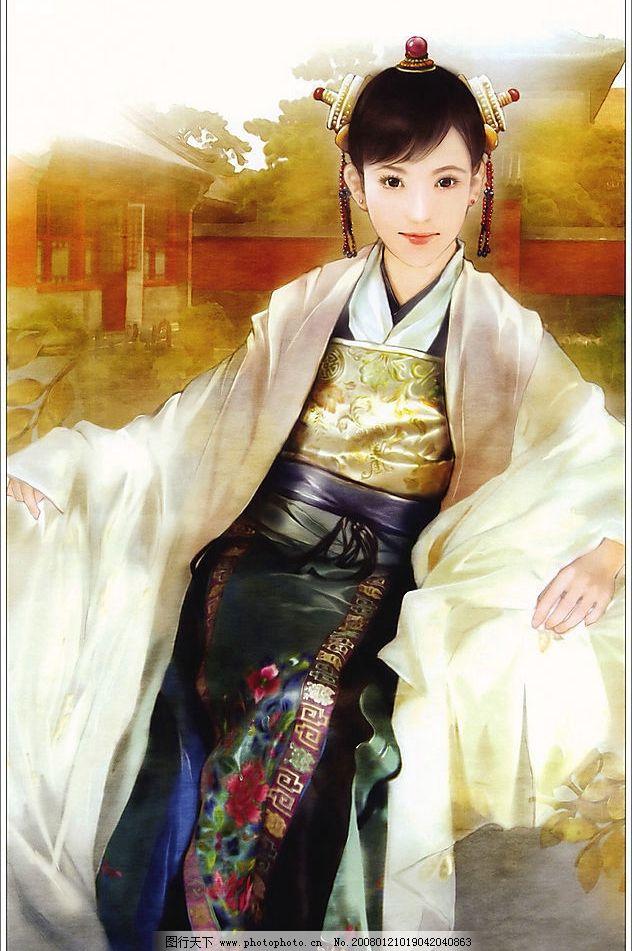 古装美女图 彩绘 绘画 手绘 美女 古典 古装 文化艺术 绘画书法 中国