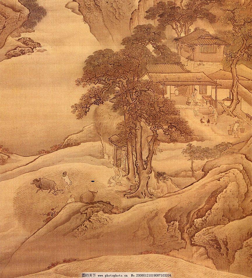 古画 山 树 人物 放牛 其他 图片素材 中国传世名画 设计图库 300 jp