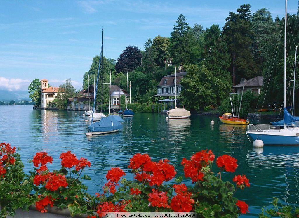 湖水蓝天小船图图片_自然风景_旅游摄影_图行天下图库
