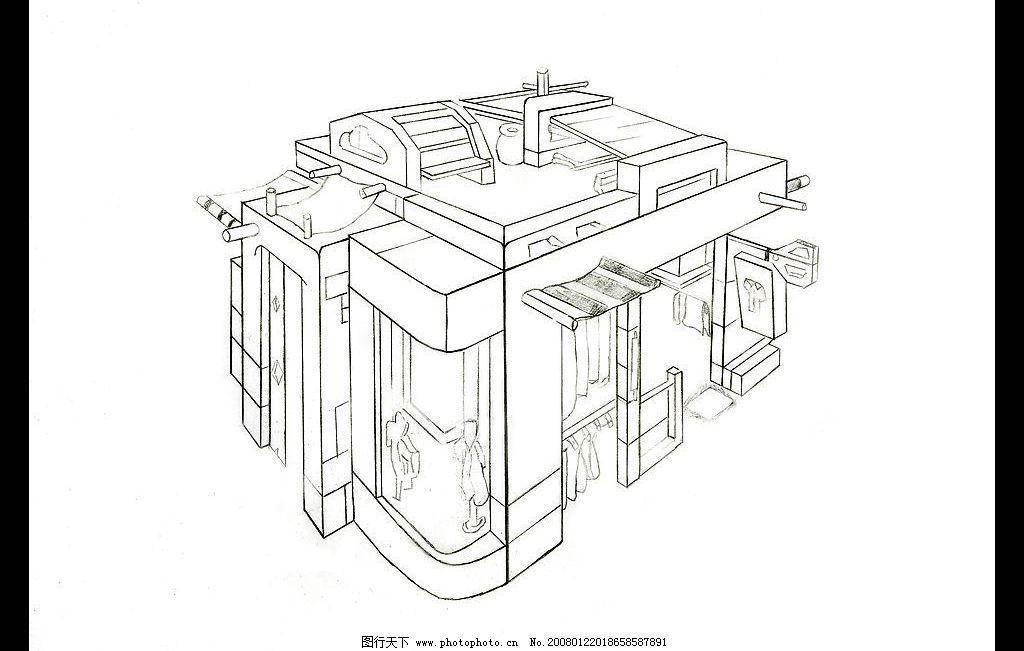 动画场景设计 两点透视 单色 黑白 线稿 动画场景 场景设计 商店 房子
