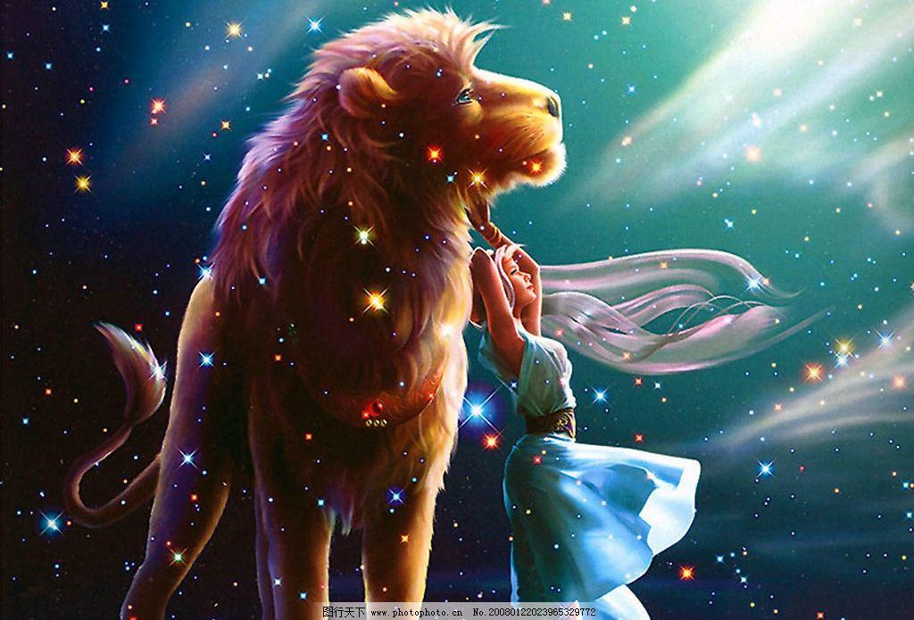 星座之狮子座 背景图片 相框背景 狮子图片 星座图片 卡片背景 人物