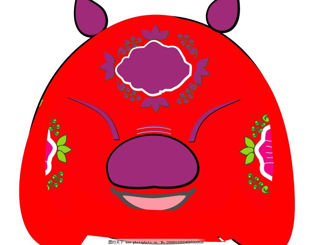 卡通猪 红色 喜庆 民俗气息 矢量图库