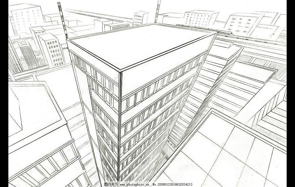 动画场景设计 三点透视 动画场景 场景设计 单色 黑白 线稿 大楼 城市