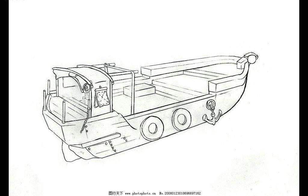 动画场景设计 船 单色 线稿 二点透视 黑白 手绘 动漫动画 动画场景