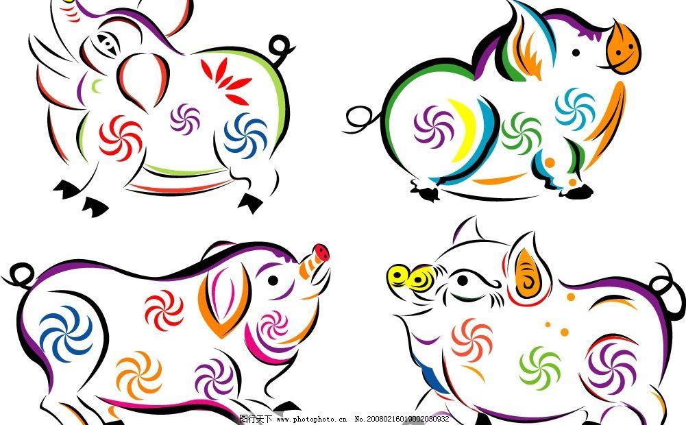 笔触写意猪 文化艺术 美术绘画 矢量图库   cdr