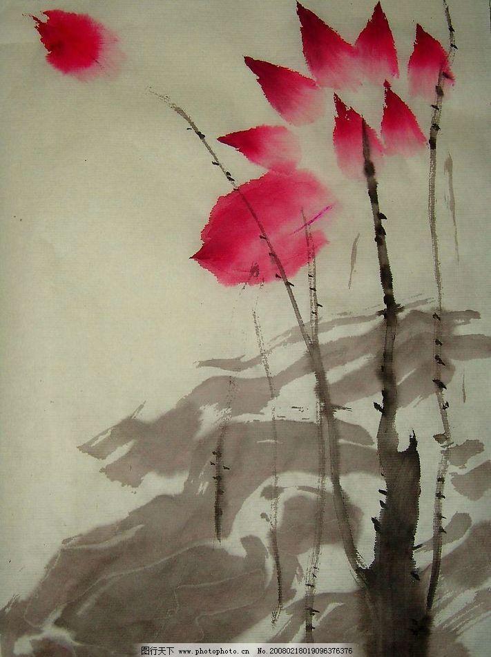 写意荷花 现代 国画 写意花鸟 水墨 荷花 文化艺术 绘画书法 设计图库