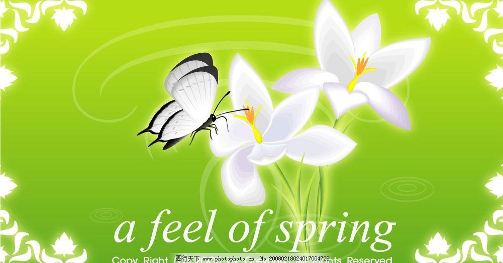 绝对美丽的春天 蝴蝶 自然风景 矢量图库