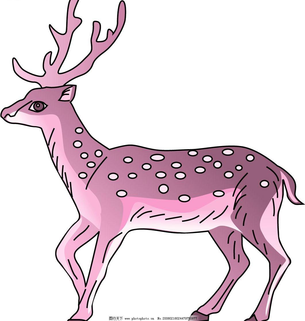 梅花鹿 梅花鹿,鹿角,侧面,斑点 生物世界 野生动物 动物 矢量图库
