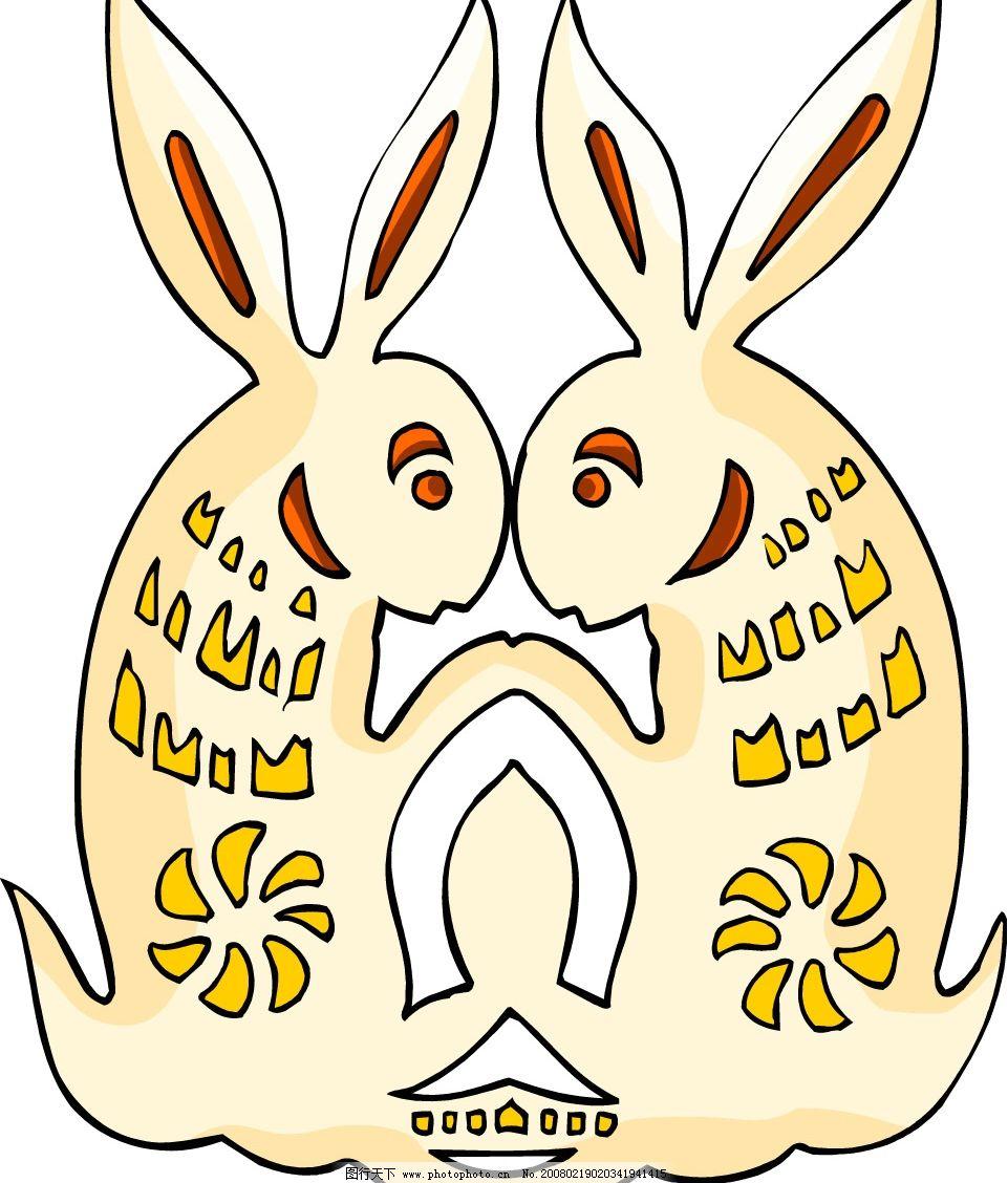 古代彩色图案-兔 古代彩色图案 矢量图 兔 蚨 龟 龙 虎 蛇 鱼 羊 底
