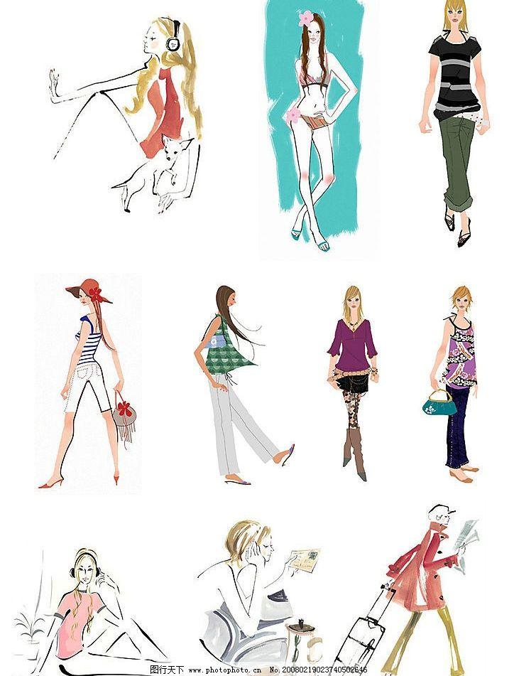 女孩 时尚 韩国 手绘 人物图库 女性妇女 设计图库 300 jpg