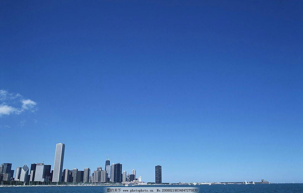 城市海景 城市高楼 蓝天 海洋 自然景观 自然风景 美景风光 摄影图库