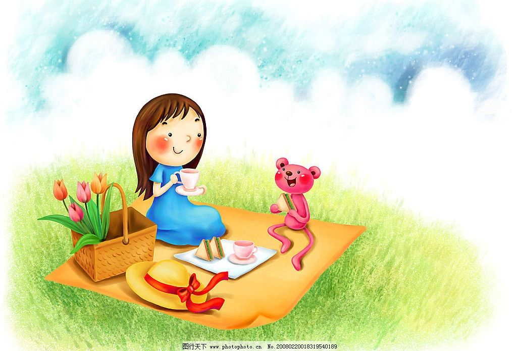 卡通 梦幻 童年 天空 草地 花篮 喝茶 三明治 动漫动画 动漫人物 设计