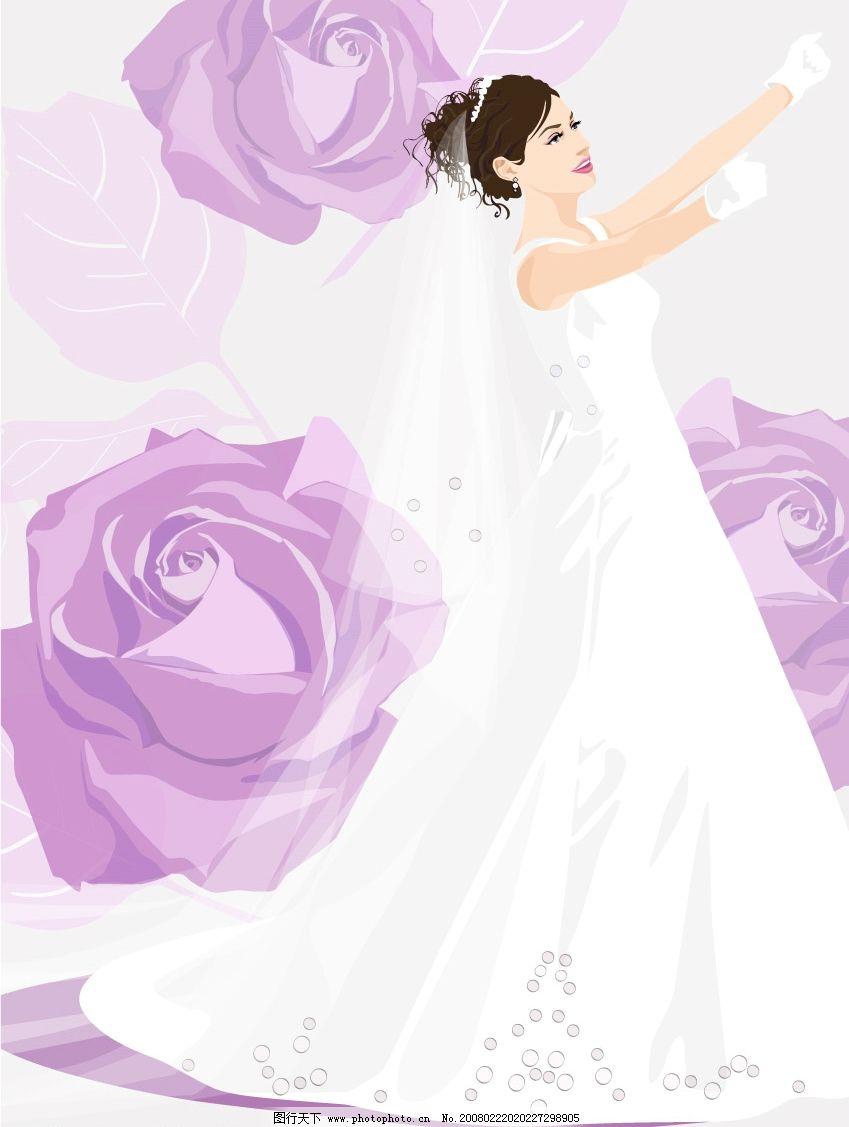 婚纱 背景 卡通人物 设计背景模版 矢量 底纹边框 底纹背景 龙凤图
