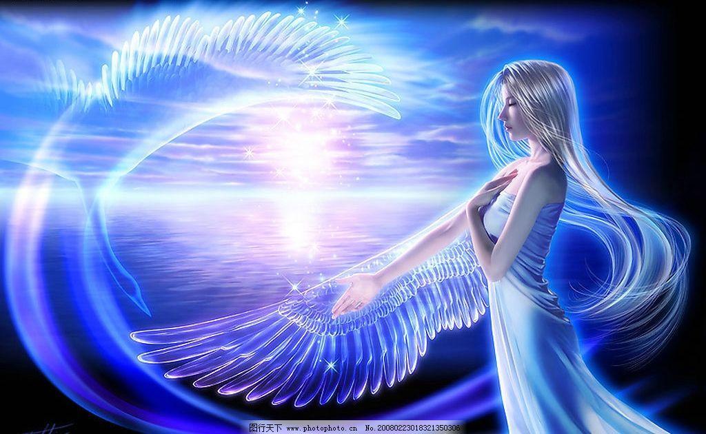 隐形的翅膀 翅膀 女孩 蓝色 炫丽 梦幻 动漫动画 动漫人物 设计图库