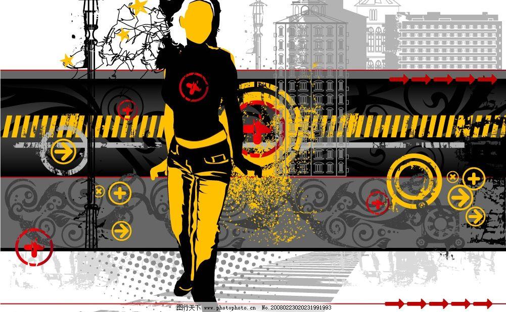 街头人物 欧式风格 底纹边框 底纹背景 矢量图库   eps