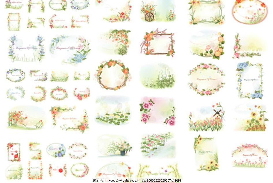 蝴蝶 玫瑰花边 郁金香花边 百合花荷花 室内花卉摆设 花朵 底纹边框
