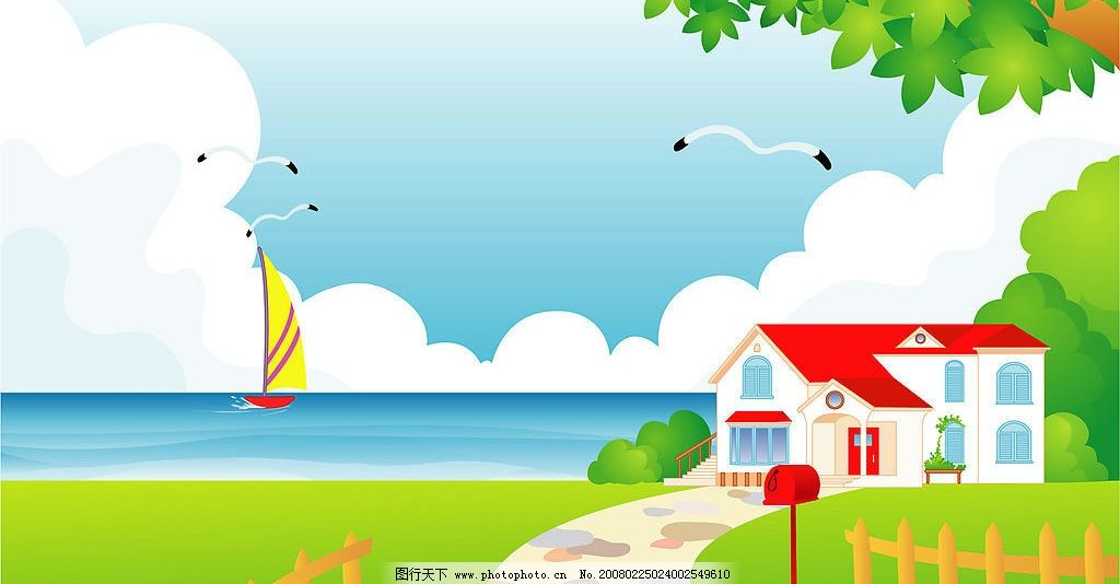 海景 海鸥 帆船 海边 自然景观 自然风景 外界风景 矢量图库   eps