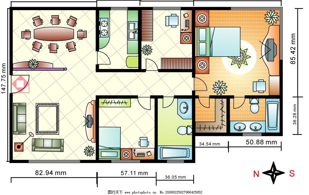 户型图 平面图 效果图 卧室 客厅 餐厅 卫生间 书房 彩色 建筑
