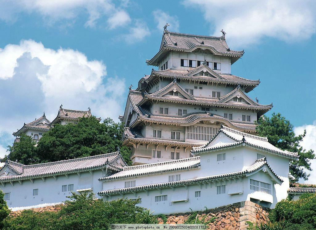 日本写实 蓝天 白云 树木 高层庙 国外旅游 摄影图库