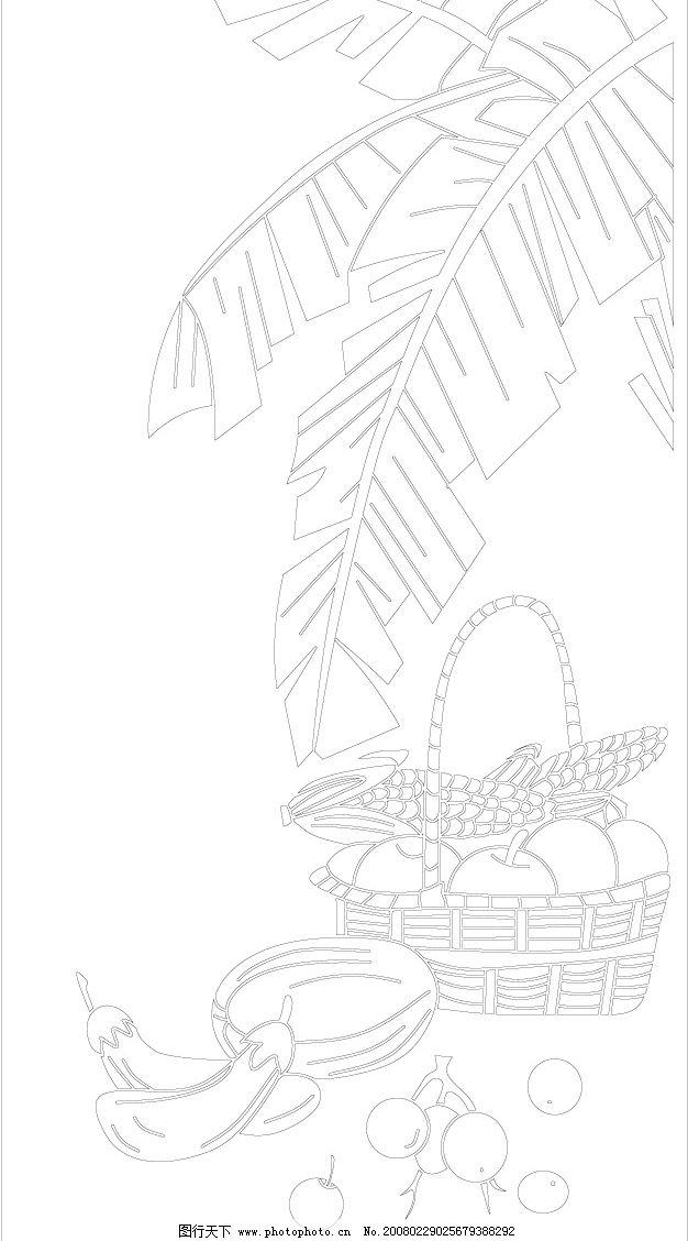 水果线条图 竹篮 水果 芭蕉叶 生活百科 餐饮美食 水果系列 矢量图库