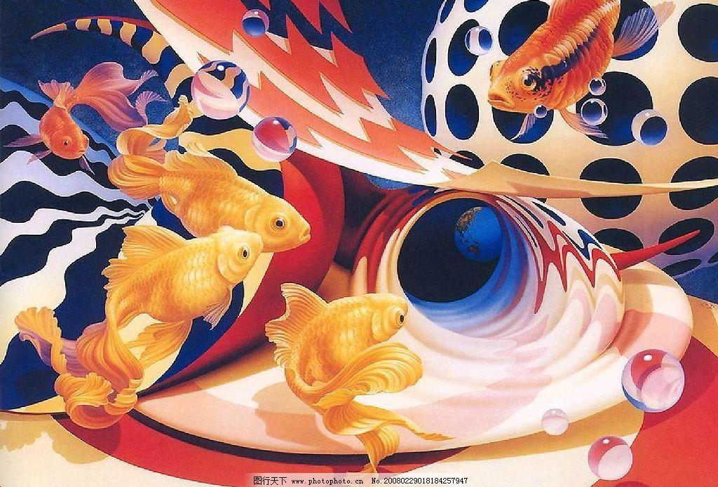 精美奇妙的动物画:彩鲤