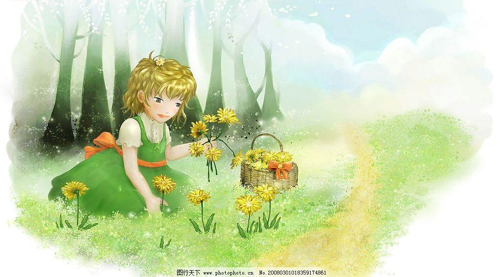 森林里的小公主 梦幻卡通风景 动漫动画 动漫人物 设计图库 500 jpg
