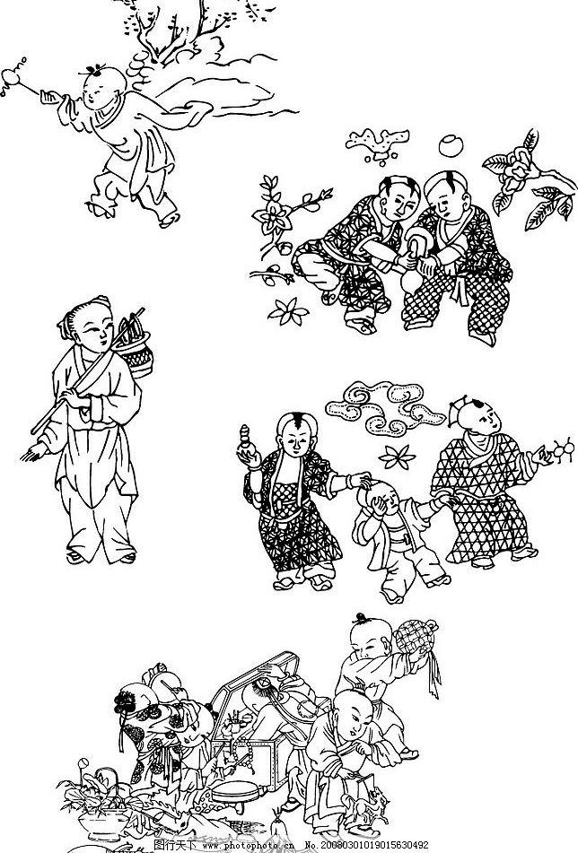 中国古代年画人物 中国古代年画人物矢量 文化艺术 美术绘画 矢量图库