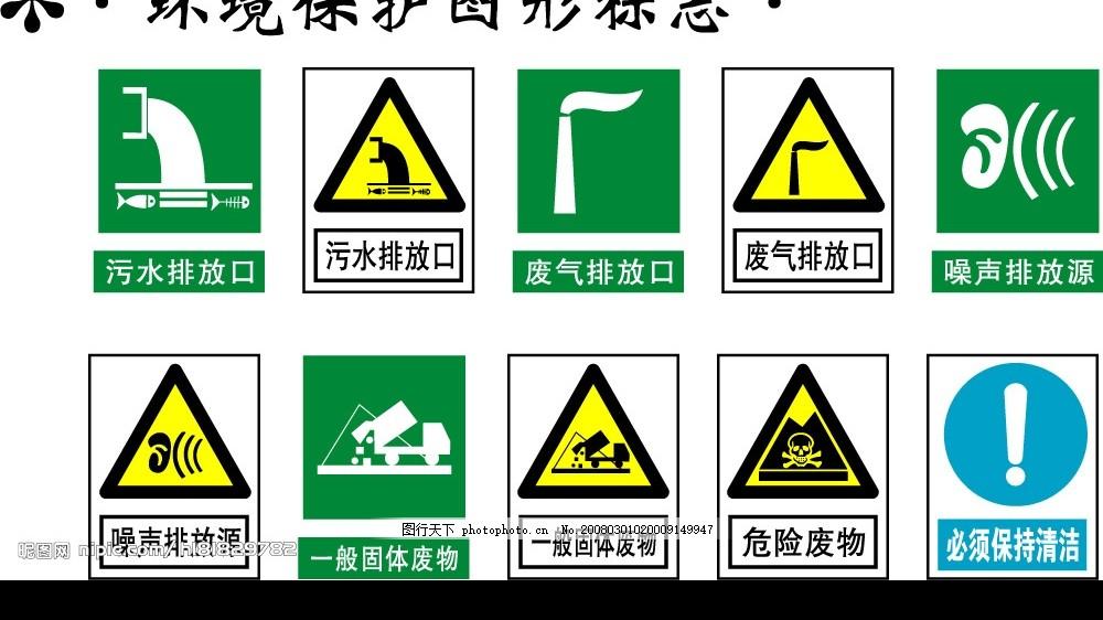 环境保护图形标志矢量图 污水排放口 废气排放口 噪声排放源 标识标志