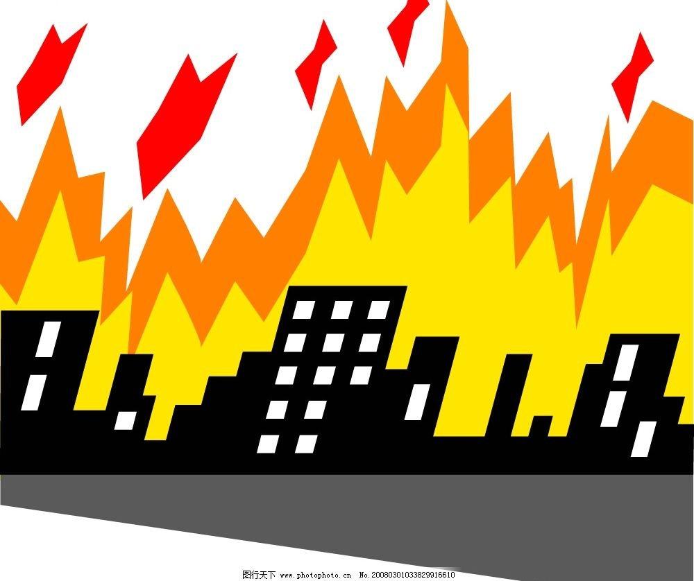 火灾绘画简笔画