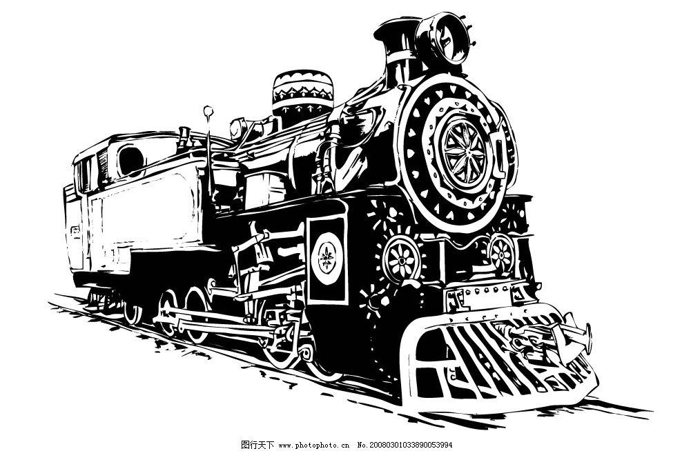 火车头 黑白剪影 其他矢量