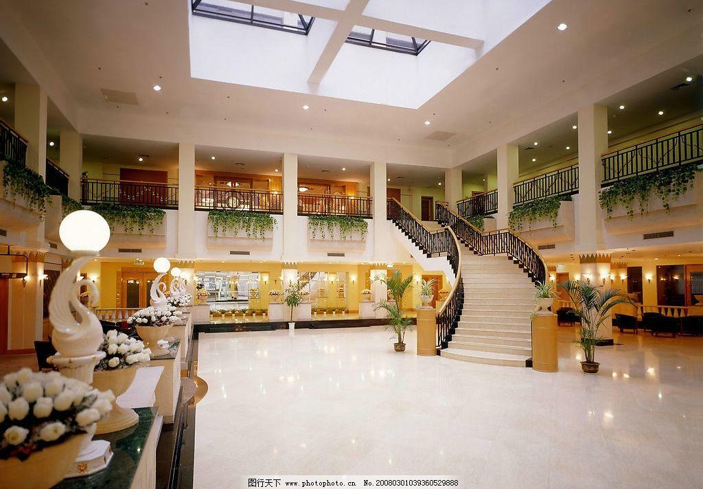 大堂 大厅 装潢 酒店 宾馆 花艺 天窗 大理石 建筑园林 室内摄影