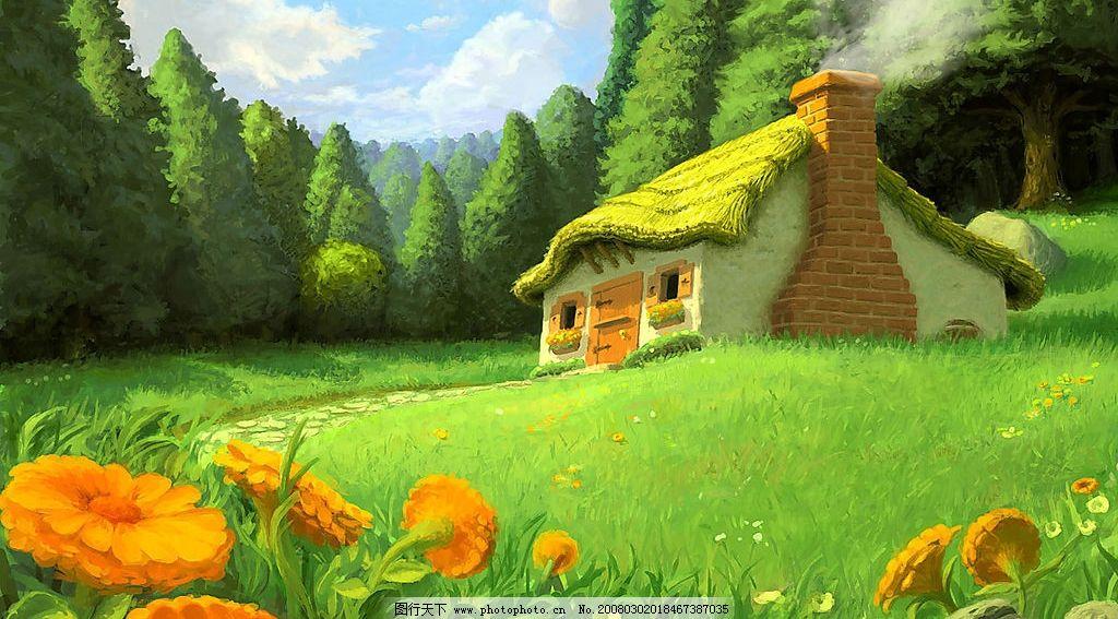 森林里的小木屋图片_风景漫画图片