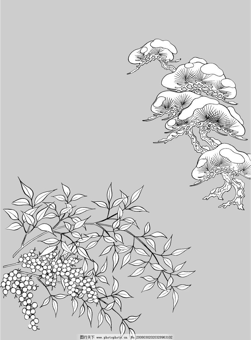白描 线稿图 底纹边框 花纹花边 矢量图库   eps