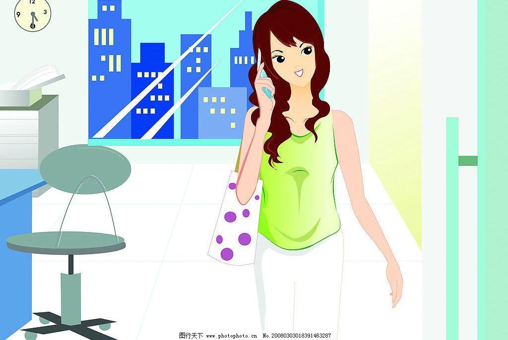 设计图库 动漫卡通 动漫人物  高精度韩国漫画美女图片 美女 办公室