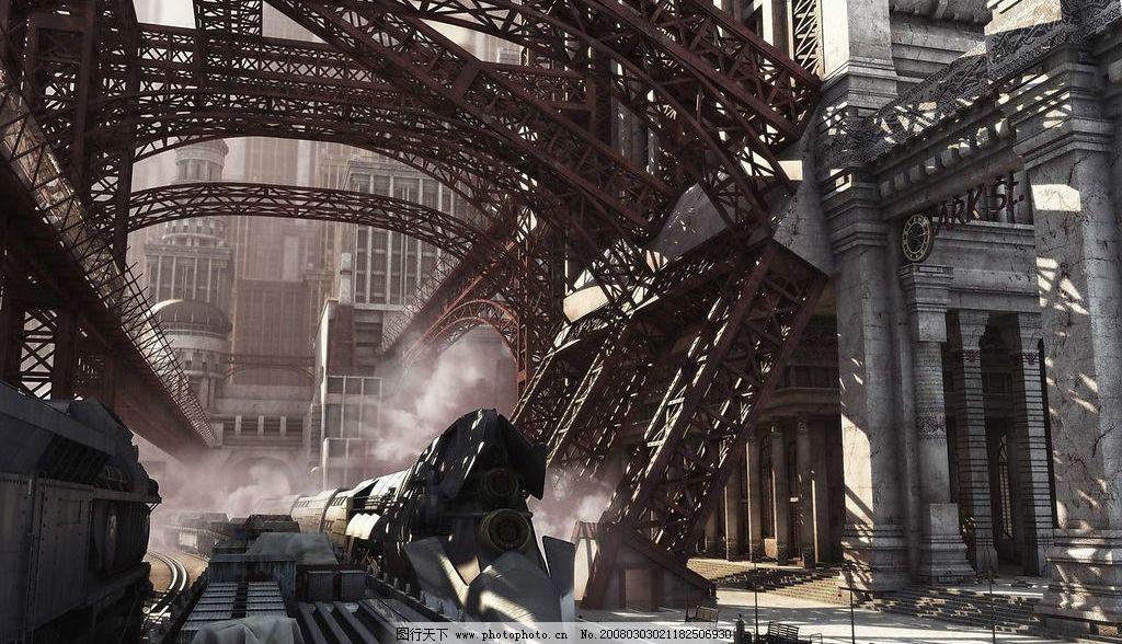 三维设计 科幻城市 火车站图片