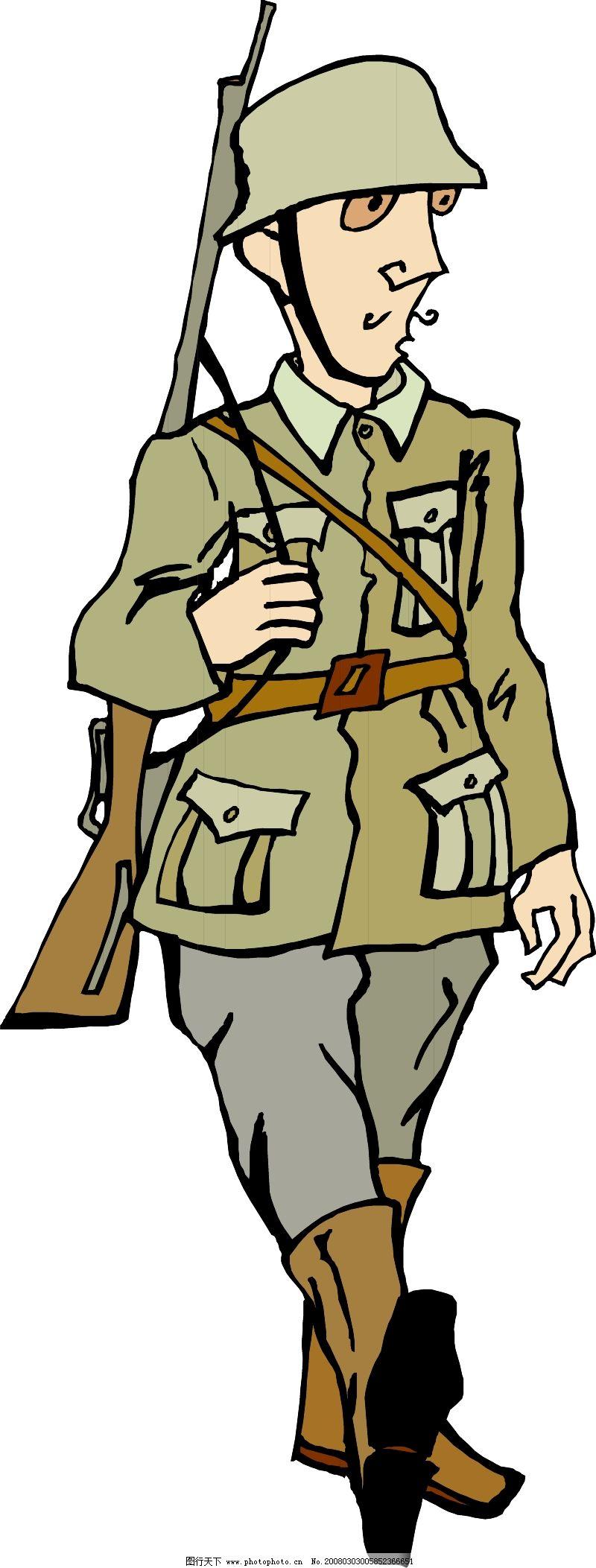 军人服装简笔画涂色