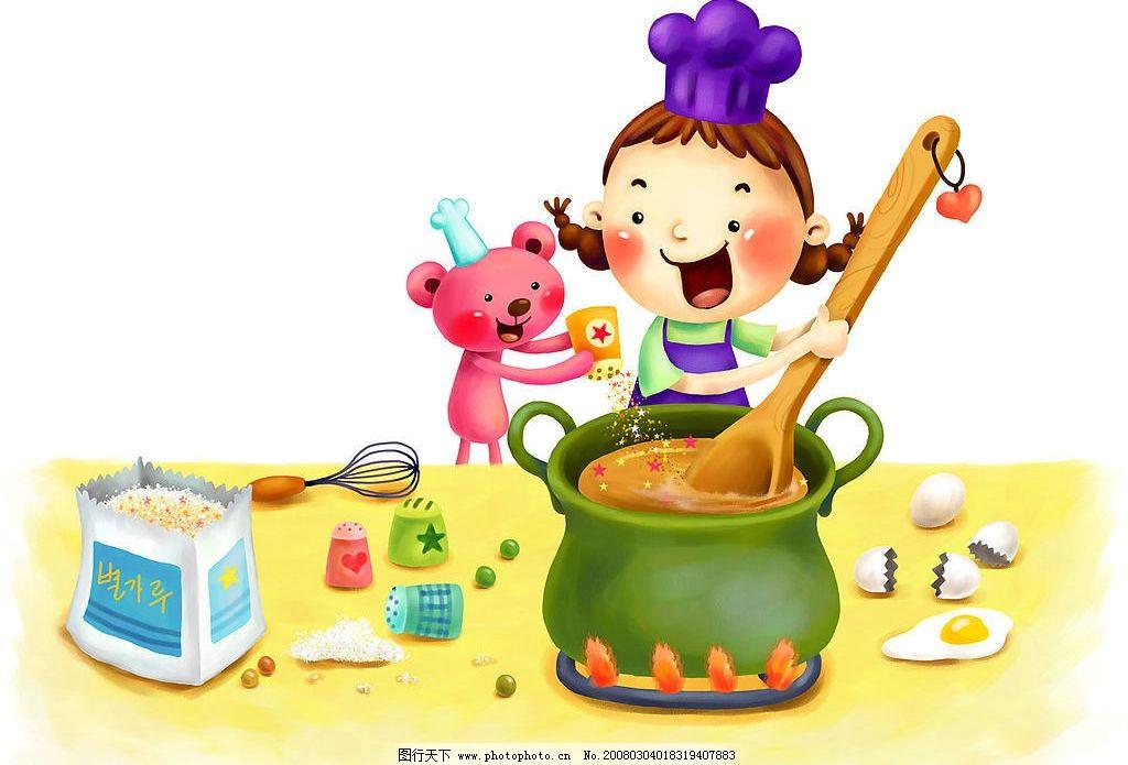 卡通梦幻童年 卡通 梦幻 童年 做饭 调料 鸡蛋 沙锅 勺子 动漫动画