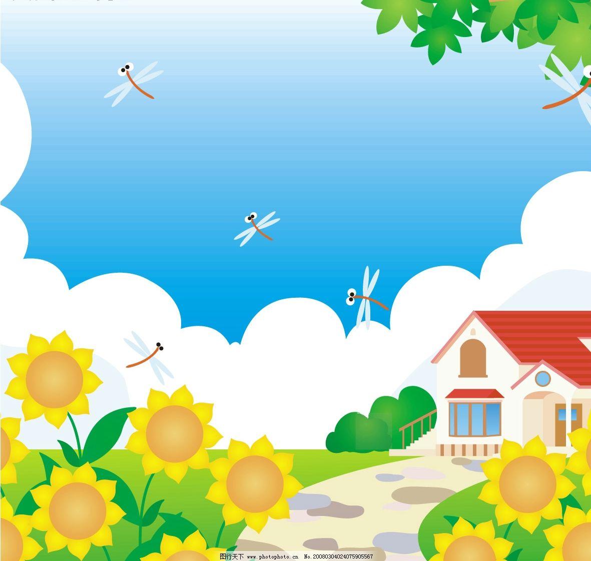 春天,蓝天白云,花儿开,蜻蜓飞舞 自然景观 自然风景 风景 矢量图库