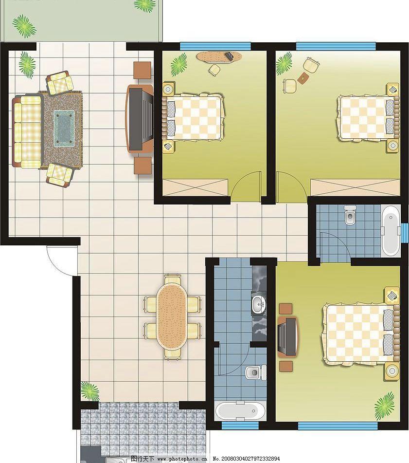 家装平面图 室内设计 平面图 cdr矢量 家居 建筑家居 矢量图库   cdr
