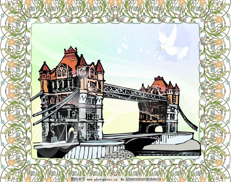 边框 桥 古建筑 鸽子 底纹边框 花纹花边 ai绘画(原创) 矢量图库   ai