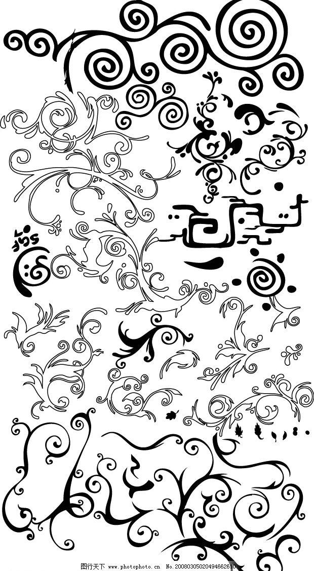 很多花纹 边框 底纹 祥云 矢量 黑白 矢量图库