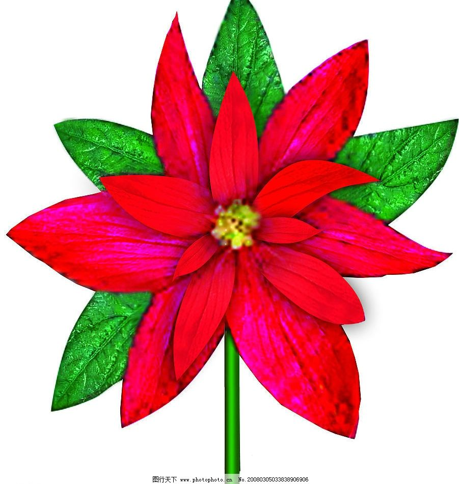 红花 红花 花 卡通花 红花绿叶 其他 图片素材 设计图库 72 jpg