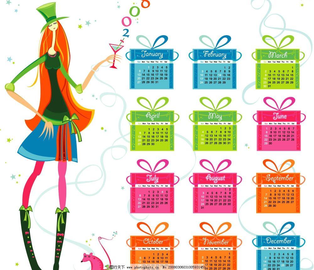 2008全年日历矢量图 矢量日历 卡通人物 丝带 老鼠 礼品 美女 2008 日历 彩色 星星 时尚 EPS 矢量图 广告设计 其他设计 矢量图库 0