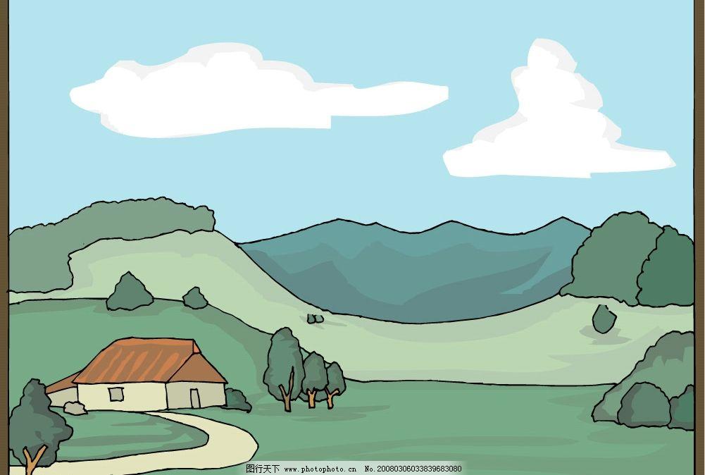 矢量风景图 云 山 树 房子 其他矢量 矢量素材 矢量图库   cdr